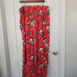 Red fuzzy Elf movie print pajama pants sz XXL
